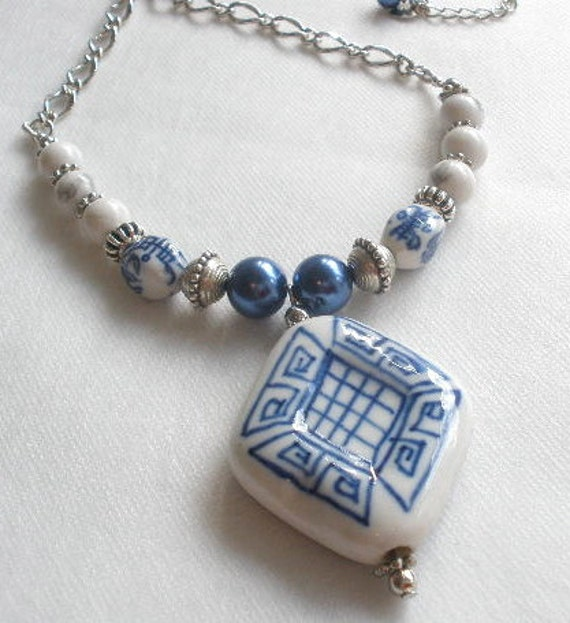 Blue Pearls and  White Stone Necklace with Large Chinese Porcelain Focal Bead - Shanghai Blues
