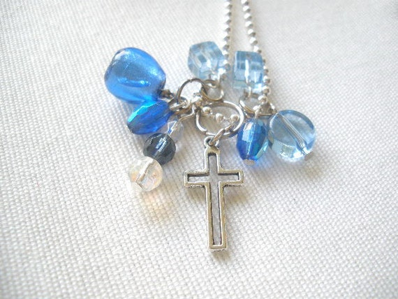 Cross Pendant with Blue Beads Necklace