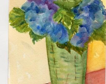 Hydrangeas watercolors painting original, Flower ART, Hydrangea decor, Small Floral Wall art, Watercolors Painting Original Blue Hydrangeas