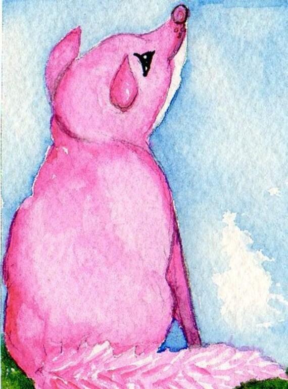 ACEO Original Pretty as a Pink Fox - art card, fox painting, painting original