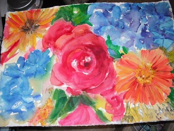 Original Watercolor Big colorful flowers, roses, zinnias, hydrangeas 11 x 22, Vivid floral, wall art