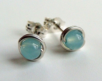 Tiny Chalcedony Studs Earrings Wire Wrapped in Sterling Silver Post Earrings Chalcedony Studs