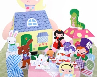 Alice in Wonderland Kawaii Playset Printable Paper Craft PDF