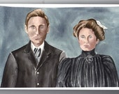 Family Portrait Ancestor Nostalgic Vintage Custom Watercolor Painting or Charcoal Pencil Drawing from your favorite photo snapshot - 8 x 10
