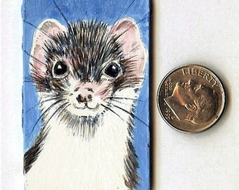 Ferret Art Painting Long-haired Weasel Original Miniature Painting Dollhouse Decor