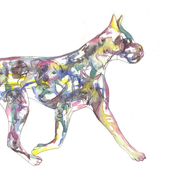 American Boxer Art Original Watercolor Silhouette Painting Dog Home Decor boxer portrait unique artwork