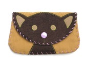 Cat Snap Wallet Purse in Brown and Tan