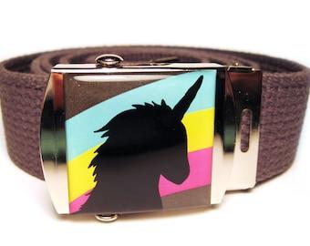 Rainbow Unicorn Canvas Belt