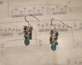 Val - Apatite, emerald, vesuvianite, and amethyst earrings