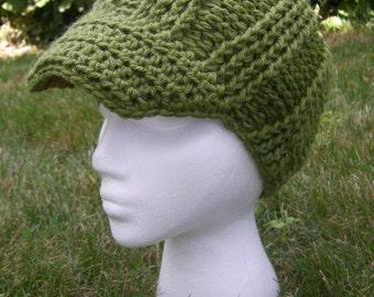 Crochet Hat with Brim in Avocado Yarn