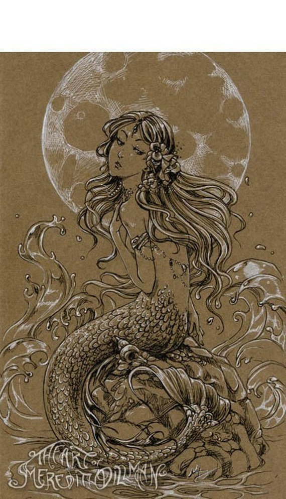 Moon Mermaid Art, fantasy print, black and white Ink drawing, 5x7