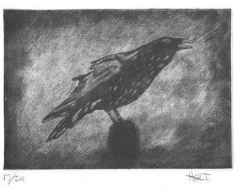 Raven art print, hand printed silk etching (silk aquatint, silk mezzotint, silk collagraph), bird art