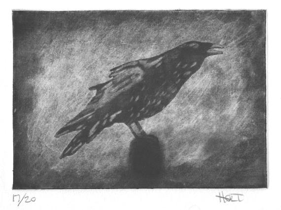 Crow etching in black and white, hand pulled raven print, silk aquatint, silk mezzotint, silk collagraph, intaglio black bird print
