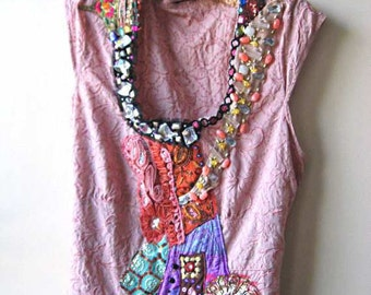 Fire and Ice top, Pink, Upcycled, Antique Embroidery, Vintage, Silk, Cotton, Sparkle, Bohemian Gypsy
