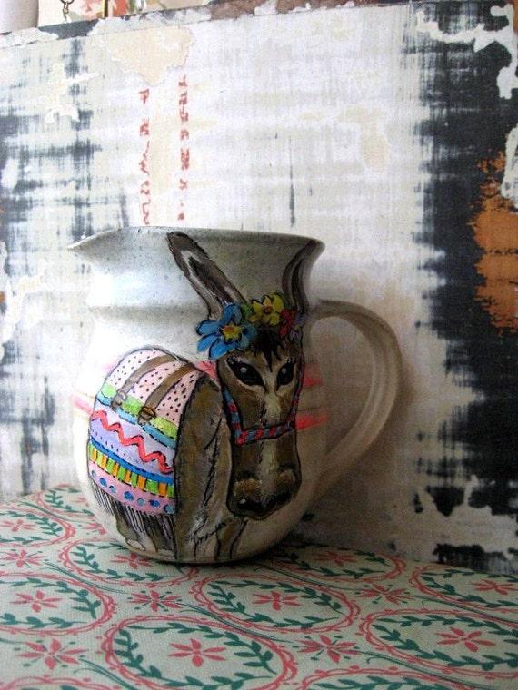 RESERVED - Bohemian Burro art jug
