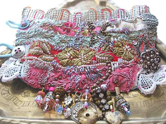 RESERVED for Lori - Antique Metallic Gypsy Jangle Bracelet, Pink, Gold, Blue, Red, Purple,Bohemian Gypsy, Cuff