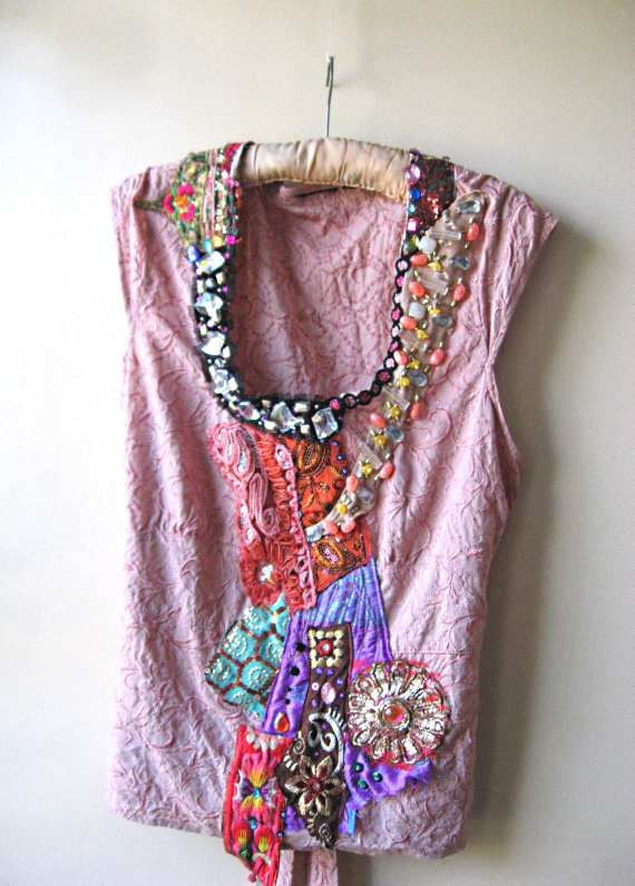 Fire and ice top pink upcycled antique embroidery vintage