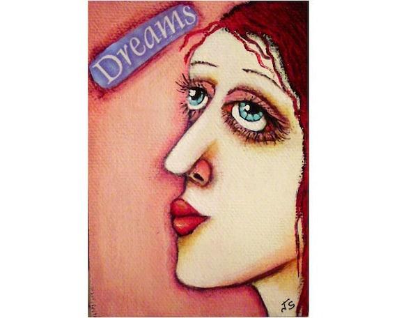 DREAMS Girl Original Folk Art Painting ACEO