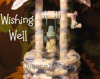 How 2 make a Diaper WISHING WELL instructions. GR8 for Baby Shower Centerpiece. Beautiful