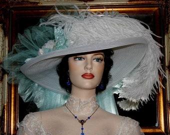 "Victorian Hat Somewhere in Time Hat Wedding Hat Tea Hat ""Sea Foam Crystal Fairy"" Tea Party Hat"
