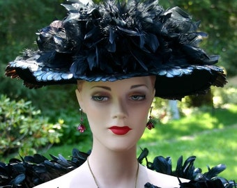 Edwardian Hat Ascot Hat Kentucky Derby Hat Wide Brim Tea Hat Titanic Hat Somewhere in Time Hat Downton Abbey Hat - Lady Elizabeth