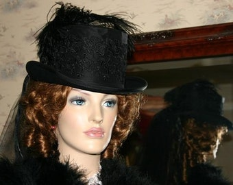"Victorian Hat Edwardian Riding Hat Steampunk Hat Gothic Hat Mourning Hat SASS Hat ""Victoria"" Black Hat"