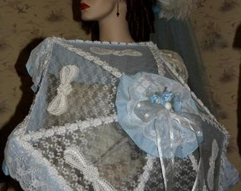 "Victorian Parasol Edwardian Parasol Alice in Wonderland Parasol ""Country Girl"" Blue Gingham & White Lace"