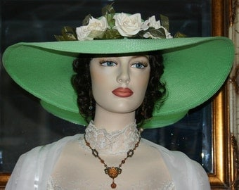 Ascot Hat Kentucky Derby Hat Wide Brim Tea Hat Titanic Hat Somewhere in Time Hat Downton Abbey Hat Edwardian Hat Green Hat - Mint Julep