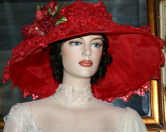 Ascot Hat Kentucky Derby Hat Wide Brim Tea Hat Titanic Hat Somewhere in Time Hat Downton Abbey Hat Edwardian Red Hat Lace Hat - Lady Audrey