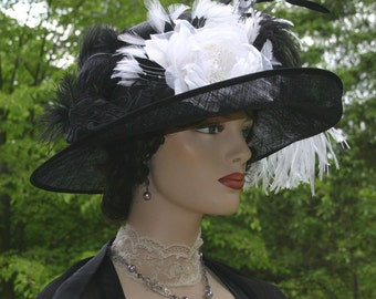 Edwardian Hat Ascot Hat Kentucky Derby Hat Wide Brim Tea Hat Titanic Hat Somewhere in Time Hat Downton Abbey Hat - Countess of Grantham