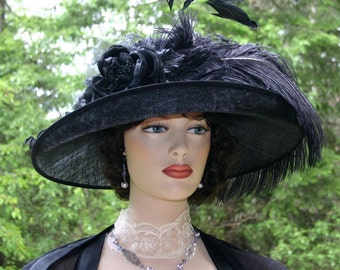 Kentucky Derby Hat Downton Abbey Tea Hat Ascot Hat Edwardian Hat - Countess of Grantham - Wide Brim Hat Womens