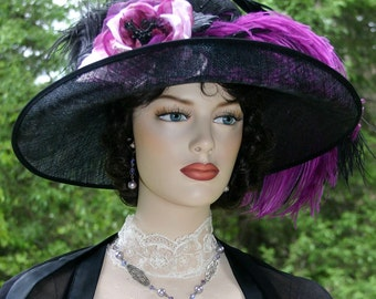Ascot Hat Kentucky Derby Hat Wide Brim Tea Hat Titanic Hat Somewhere in Time Hat Downton Abbey Hat Edwardian Hat - Countess of Grantham