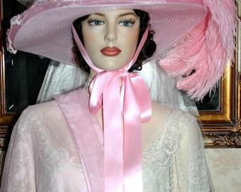 Victorian Hat Tea Hat Pink Hat Fantasy Hat Hat Southern Belle Hat Alice in Wonderland Hat Wide Brim Hat - Mademoiselle Aubrienne