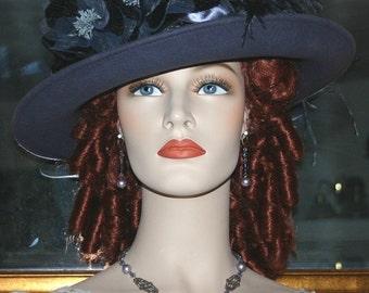 Edwardian Hat Titanic Tea Hat Downton Abbey Hat Church Hat Lady Ashcroft Gray Tea Hat