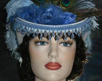 Victorian Hat Riding Hat Sidesaddle Hat Blue Hat Tea Hat - Spirit of Marengo - Womens Western Hat