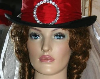 "Victorian Hat Top Hat Riding Hat Side Saddle Hat Downton Abbey Hat SASS Hat ""Mademoiselle"""