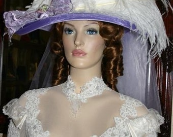 Ascot Hat Kentucky Derby Hat Wide Brim Tea Hat Titanic Hat Somewhere in Time Hat Downton Abbey Hat Edwardian Hat - Lavender Crystal Fairy