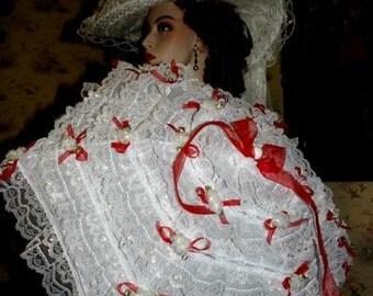 "Victorian Parasol Edwardian Parasol Alice in Wonderland Parasol ""Sweetheart"" White Lace & Red Organza Ribbon"