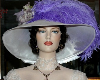 Edwardian Hat Ascot Hat Kentucky Derby Hat Wide Brim Tea Hat Titanic Hat Somewhere in Time Hat Downton Abbey Hat - Run for the Roses