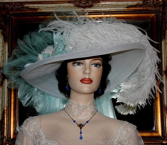 "Victorian Hat Somewhere in Time Hat Wedding Hat Tea Hat ""Sea Foam Crystal Fairy"" Tea Party Hat"