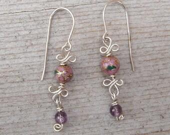 Pink Cloisonne and Amethyst Sterling Silver Earrings - Dangle Earrings, Stone Beads Silver Wire Jewelry, Women Handmade Dangling Earrings