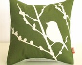 Olive Green Bird on Cherry Blossom - Mini 10.5 Inches Square Pillow