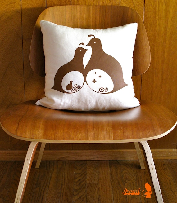 Limited Time Sale Brown Print  Mama Dada Quail 16 Inches Square Linen Pillow