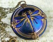 Dragonfly Necklace Sapphire Blue Czech Glass Button Oxidized Brass Vintage Inspired Dragon Fly Jewelry