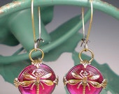 RESERVED Dragonfly Earrings Raspberry Pink Czech Glass Buttons Oxidized Brass Dragon Fly Jewelry