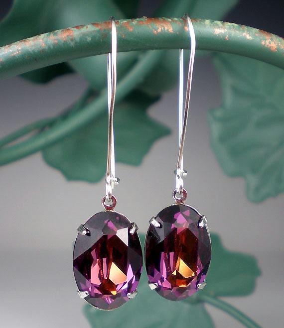 Rhinestone Earrings Rose Golden Sahara Swarovski Drop Earrings Violet Coral Pink Jewelry