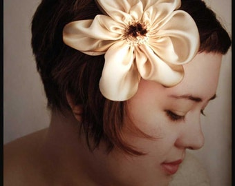 hair flower stitched from hand dyed silk  in cream and chocolate