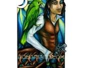 Green Parrot, Pirate - Art Magnet - Fantasy Art Drawing