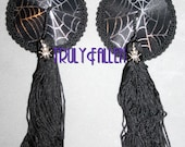 Ready to Ship nipple tassels pasties Widow Spiderweb with SILVER SPIDER CHARM 2 inches