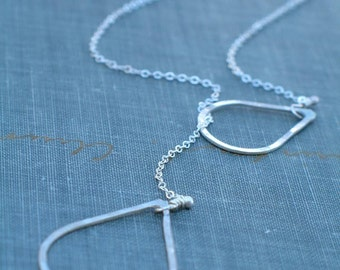 Sterling Silver Teardrop Lariat-  oxidized or bright finish